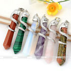 1pc Chic Snake Wrap Copper Hexagonal Quartz Gemstone Charm Pendulum Pendant Cool