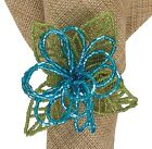 Turquoise Beaded Flower Napkin Rings by Park Designs, Choice of Sets, Glass Bead