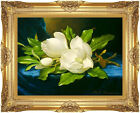 Framed Art Print Magnolias on a Blue Velvet Cloth by Martin Johnson Heade Repro