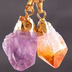 Free Shipping Mixed Natural Amethyst Citrine Crystal Gold plated Pendant 1Pcs