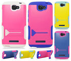 Alcatel ONETOUCH Fierce 2 Hybrid Silicone Rubber Skin Case Hard Kick Stand Cover