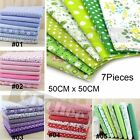 Lot 7 Assorted Pre Cut Charm Cotton Quilt Fabric Squares 50cm Fat Quarter Bundle