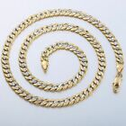 6mm Women Men Chain Hammered Cut Curb Link Silver Yellow Gold Filled GF Necklace