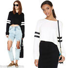 New Women PU Splicing Loose Crop Tops Long Sleeve Blouse T-shirt Sweatshirt
