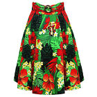 Womens Kitsch 50s Tropical Floral Swing Skirt Flared Rockabilly 1950s
