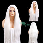 "20""-28"" Long Straight White Yaki Lace Front Synthetic Wig"