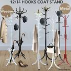 Wooden / Metal Tree Style 12 Hooks Hat Coat Clothes Rack Stand Walnut Base Ring