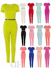 NEW WOMENS LADIES CELEB STYLE CAP SLEEVE GOLD BELTED JUMPSUIT 8-14
