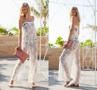 Sexy Women's off shoulder Lace see-through Wide Leg Long Rompers Jumpsuit