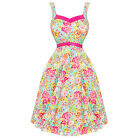 Womens Ladies New Pink Blue Floral 50s Vintage Summer Prom Tea Dress
