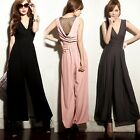 Wrapped V-neck Mesh Splicing Womens Wide-leg Jumpsuit Romper Trousers Pants 6761