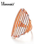 Viennois Fashion New Rose Gold & Silver Tone Hollow Band Ring sz 7-9 for Women