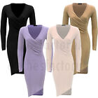 NEW Womens Ladies SLINKY V Neck Plunge Ruched Wrap BODYCON DRESS SIZE 8 10 12 14