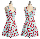 Ladies V-Neck Vintage 1950'S Rockabilly Cherry Formal Evening Party Swing Dress