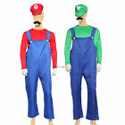 80s Mens Adult Super Mario Luigi Plumber Bros Workmen Game Fancy Dress Costume