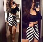 European&American Womens Fashion Sexy Striped Dresses + Black Tops 2pcs Suits S