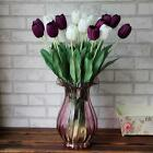 Bridal Decor Party 10 Bouquet Artificial Tulip Silk Flowers Leaf Home Wedding