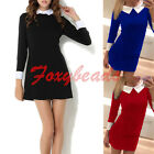 2015 Womens Elegant Spring Autumn Black Peter Pan Collar Long Sleeve Slim Dress