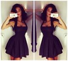 Hot Women Sexy Slim Sleeveless Halter Neck Pleated Cocktail Clubwear Dresses S