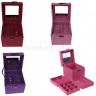 5 Colors 3 Compartment Wedding Earring Ring Necklace Jewelry Box Case Lockable