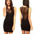 Fashion Women's Lace Sheer Sexy Black Backless Bodycon Cocktail Party Dress - CB