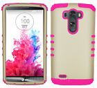 For LG Optimus G3 - Hybrid 2 in 1 Hard Soft Cover Protective Case Gold with Pink