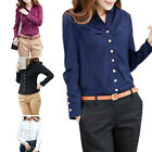 Women Lady Blouse Top Shirt Long Sleeve Buttons Slim Office XS S M L XL