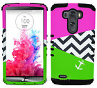 For LG Optimus G3 Hybrid Protective Cover Case Green Pink Chevron Anchor Black