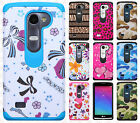 For LG Leon C40 HARD Hybrid Rubber Silicone Case Phone Cover + Screen Protector