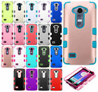 For LG Leon C40 Rubber IMPACT TUFF HYBRID Case Skin Phone Cover + Screen Guard