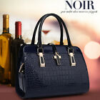 Women's Designer Crocodile Bags Patent Fashion Tote Ladies Leather Handbags NEW