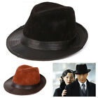 Men's Vintage 100% Real Leather Dress Hat Fur Felt Pelt Fedora top detective Cap