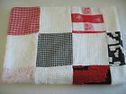 CUTE Red White & Black Chenille & Cotton Print  Patchwork Blanket  27 x 37  NEW!