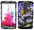 For LG Optimus G3 - Hybrid Protective Case Cover Purple Hunter Series Camo Black