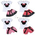 Baby Toddler Kid Girls Minnie Mouse Bow T Shirt Top +Skirt/Bloomer Pants Outfits