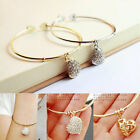 New Lady Girls Trendy Silver Heart Pendant Crystal Bangle Cuff Bracelet Jewelry