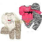 3pcs Girl Baby Newborn Kids Hat+Romper+Pants Trousers Bodysuit Set Outfit 0-12M