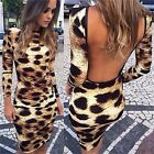 Hot Fashion Women's Sexy Backless Leopard Nightclub Slim Pencil Skirt Dress - CB