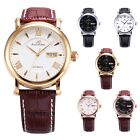 Ks Imperial Automatic Mechanical Date Day Display Leather Sport Mens Wrist Watch