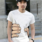 Men's Funny 3D Cool Round Neck Short Sleeve Big Hand Printed Cotton T-shirt New