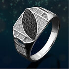 .925 Sterling Silver Ring for Men Clear and Black 2-tone CZ Paved