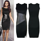 Womens Optical Stitching Bodycon Slimming Black Celeb Ladies Cocktail MINI Dress