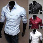 Luxury Mens 1/2 Sleeve Slim Fit Casual Formal Dress Shirts Work Shirts Tops
