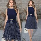 Fashion Girls Summer Polka Dot Chiffon Sleeveless Spotty Skater Tea Dresses - CB