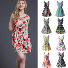 Summer Women Sleeveless Floral Skater Chiffon Tank Mini Dress Sundress UK6-18