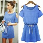 Cold Shoulder Adjustable Tie Cinched Waist Women's Summer Beach Mini Dress Tunic