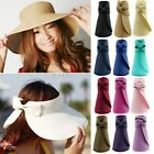 Women Summer Sun Beach Foldable Roll Up Wide Brim Straw Visor Hat Cap Hot