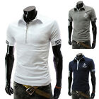 Mens Casual Short Sleeve Slim Fit T-Shirts Fashion Polo Tops Tee Shirt Blouses