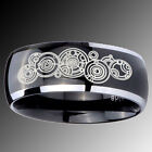 Tungsten Doctor Who Design Mirror Black 2 Tone Dome Ring Sz 7-15