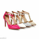 Women's Bridal Shoes High Heels Pearl Ankle Strap Pointed Toe Pumps Size US S761